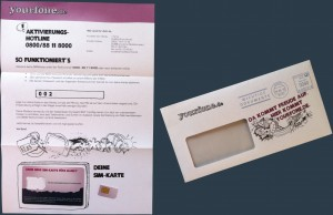 Yourfone Sim-Karte und Brief