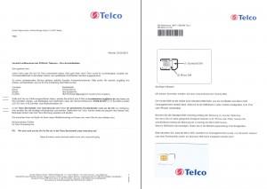 Phonex (Telco) Willkommensbrief und Sim-Karte