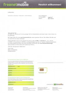 Freenetmobile Allnet Flat Willkommensbrief