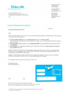 Blau.de Begrüßungsschreiben mit SIM-Karte