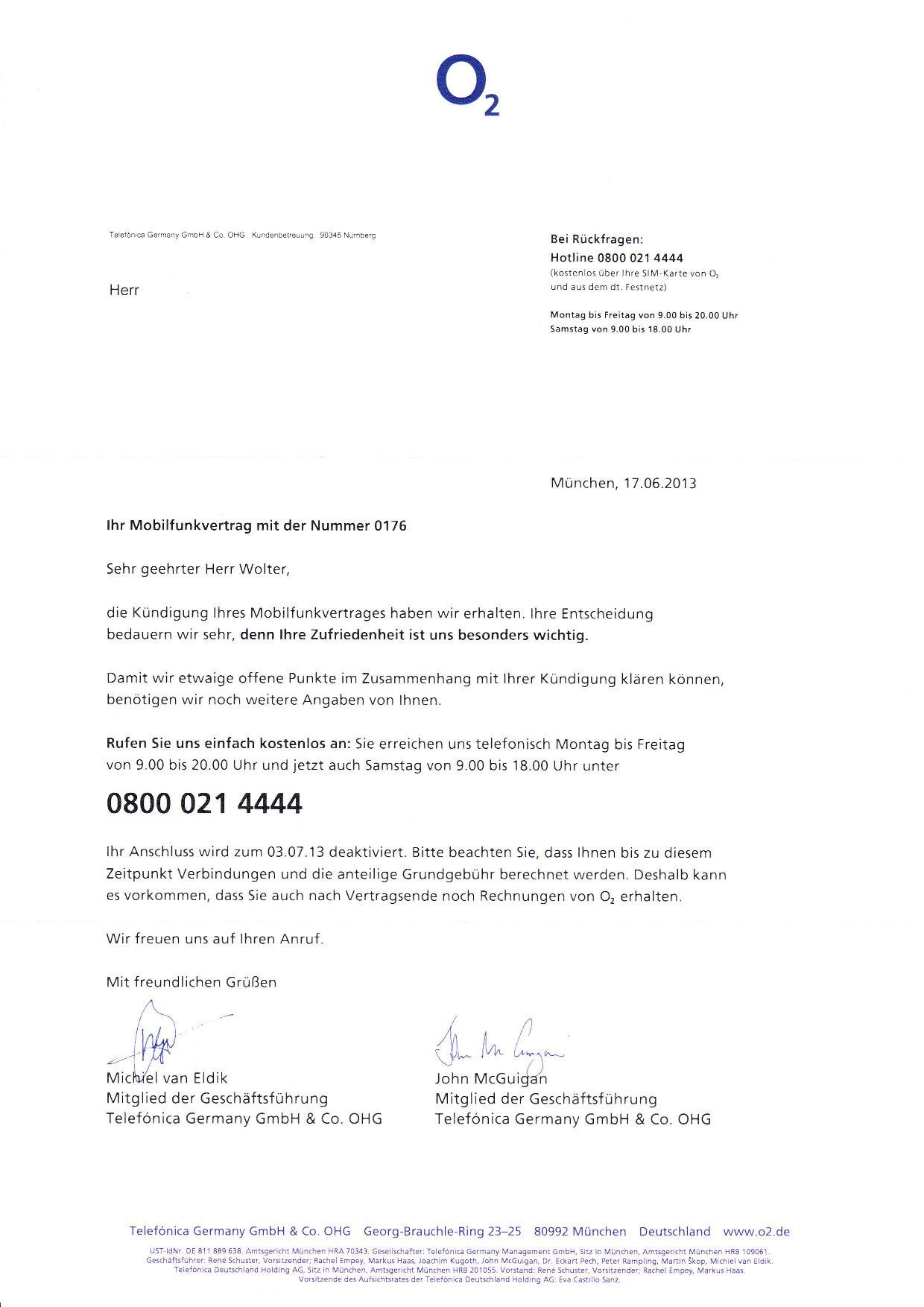 Kündigung per fax o2