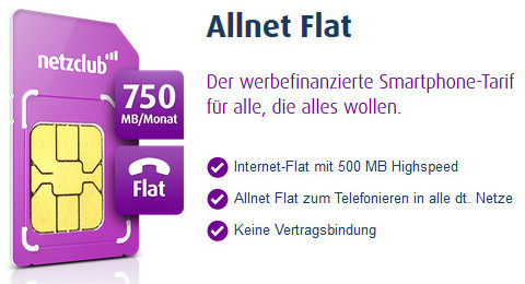 netzclub werbefinanzierte prepaid allnet flat im o2 netz. Black Bedroom Furniture Sets. Home Design Ideas