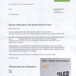 Tele2 Willkommensbrief SIM, PIN, PUK