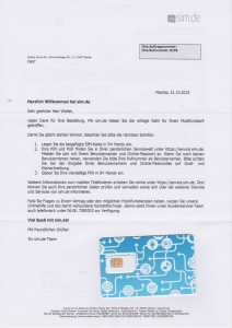 SIM.DE Willkommensbrief SIM-Karte