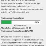 Anzeige verbrauchtes Datenvolumen