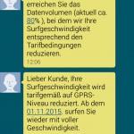 SMS Drosselung ohne Datenautomatik