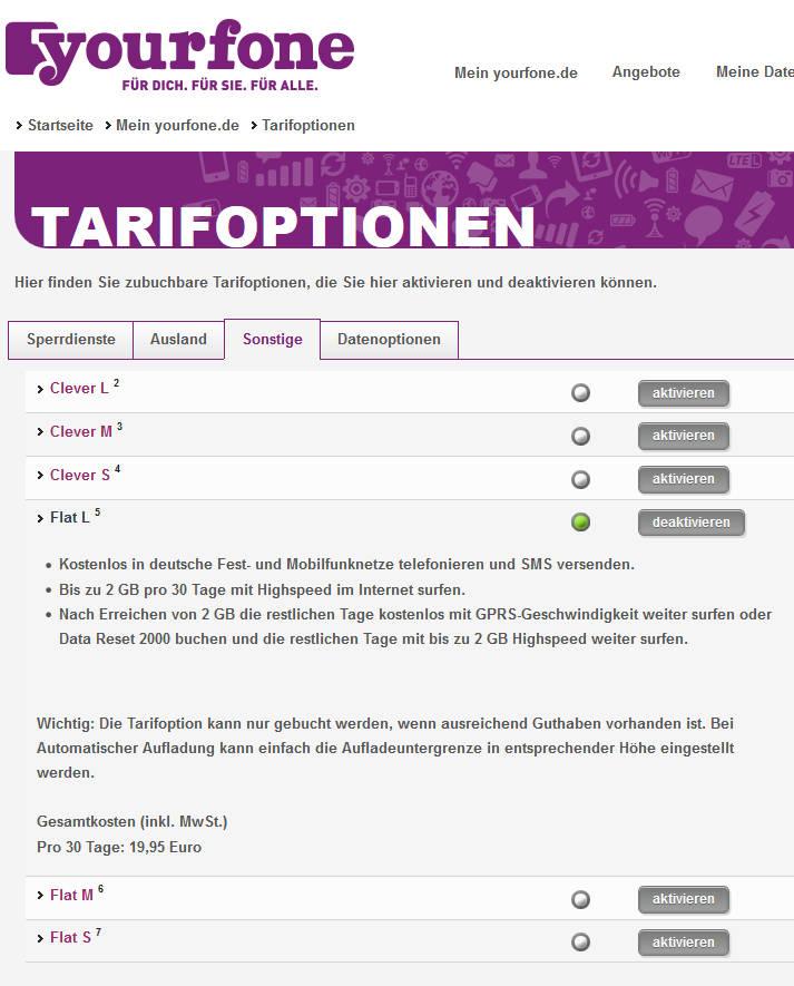 Die Optionsgebühren werden automatisch von Ihrem Konto abgebucht. Die Optionen k?nnen monatlich deaktiviert werden. Optionskosten über 48 Monate Laufzeit ,04 Euro.