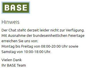 Base Service-Chat nicht erreichbar